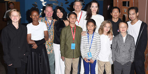 Shiloh Jolie-Pitt, Zahara Jolie-Pitt, Peter Sellars, Loung Ung, Kimhak Mun,Ted Sarandos, Sareum Srey Moch, Angelina Jolie, Vivienne Jolie-Pitt, Pax Jolie-Pitt, Knox Jolie-Pitt and Maddox Jolie-Pitt attend 'First They Killed My Father' at the Telluride Film Festival 2017 on Sept. 2, 2017 in Colorado.