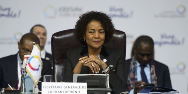 Michaelle Jean takes part in a plenary session at the Francophonie Summit in Yerevan, Armenia on Oct. 11, 2018.