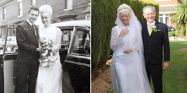 The wedding dress and suit still fit like a glove after all these years.
