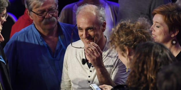 Philippe Poutou, candidat à la présidentielle pour le NPA (Nouveau Parti anticapitaliste), lors du débat présidentiel télévisé du 4 avril 2017.