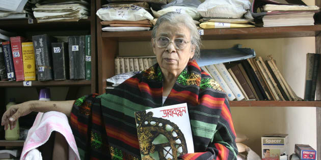 Mahasweta Devi in Kolkata, 2008. (Photo by Suvashis Mullick/The India Today Group/Getty Images)