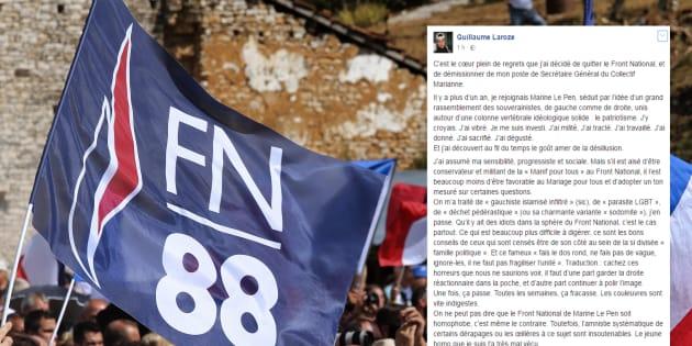"""Traité de """"déchet pédérastique"""", Guillaume Laroze explique pourquoi il quitte le Front national."""