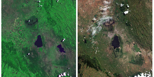 "Lake Nakuru National Park, seen in a combination of NASA satellite images taken September 9, 1972 (L) and July 7, 2015 (R). UNESCO says that with rapid population growth nearby, the area is under ""considerable threat from surrounding pressures"" –– particularly deforestation, a contributing factor in floods."