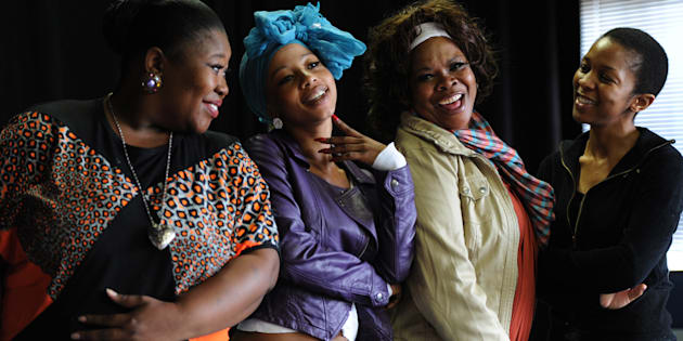 "The cast of ""She Died Dreaming"": Nomsa Buthelezi, Kelly Khumalo, Linda Sebezo and Zama Ngcobo."
