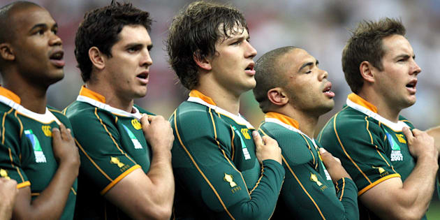 South African players line up for the national anthem