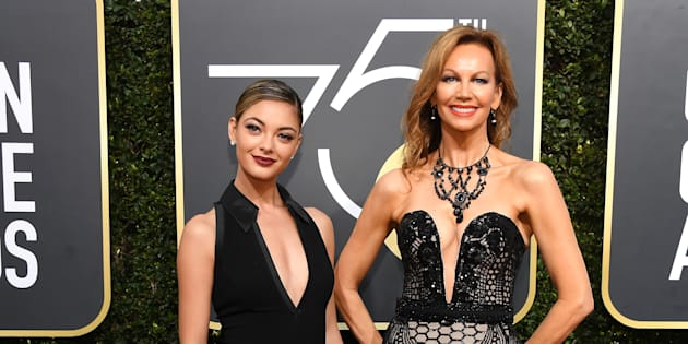 Los Angeles: Miss Universe 2017, Demi-Leigh Nel-Peters (L), and Miss Universe 1978, Margaret Gardiner, arrive at the 75th Annual Golden Globe Awards at the Beverly Hilton Hotel on January 7, 2018.