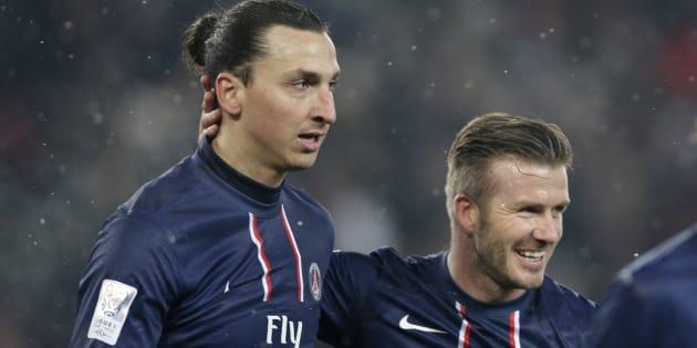 Zlatan Ibrahimovic et David Beckham, du temps où ils évoluaient ensemble sous le maillot du Paris Saint-Germain.
