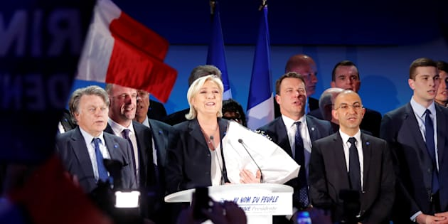 Marine Le Pen à Hénin-Beaumont après l'annonce des résultats du premier tour de la présidentielle.