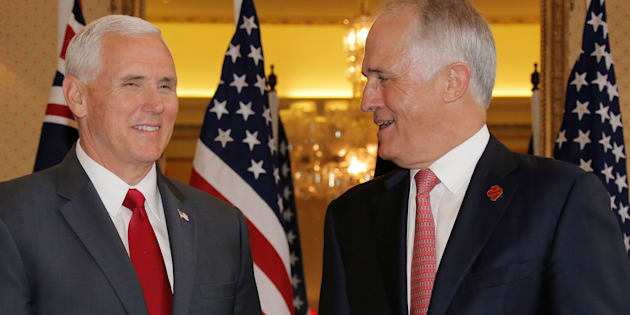 U.S. Vice President Mike Pence  meets with Australia's Prime Minister Malcolm Turnbull at Admiralty House in Sydney.