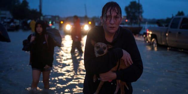 Une femme porte son chien après l'évacuation de sa maison à cause du passage de la tempête Harvey à Houston, au Texas, le 28 août.