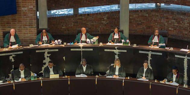 Chief Justice Mogoeng Mogoeng speaks during a hearing brought by opposition parties seeking an order for parliament to impeach South Africa's president for failing to uphold the constitution on September 5, 2017 at the Constitutional Court in Johannesburg.