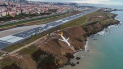 Terrifying Images Show Plane Which Skidded Off Runway On Cliff