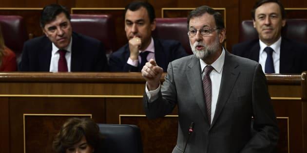 El presidente del Gobierno, Mariano Rajoy, durante la sesión de control en el Congreso de los Diputados.