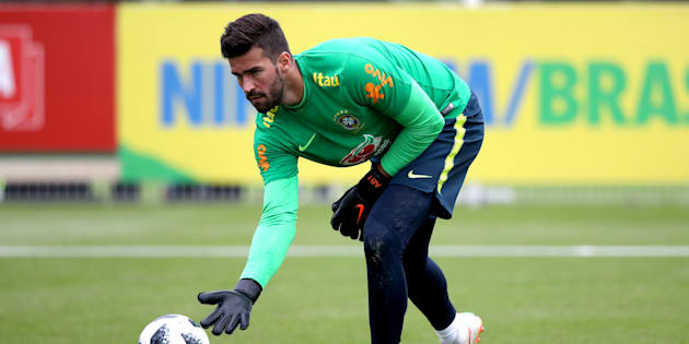 Brazil's Allison Becker during the training session at Enfield Training Ground, London. (Photo by John Walton/PA Images via Getty Images)