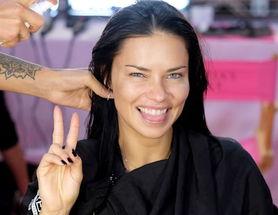 Adriana Lima gets ready for Victoria's Secret show