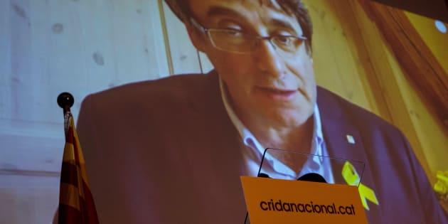 El expresidente catalán Carles Puigdemont, durante su videoconferencia de esta tarde.