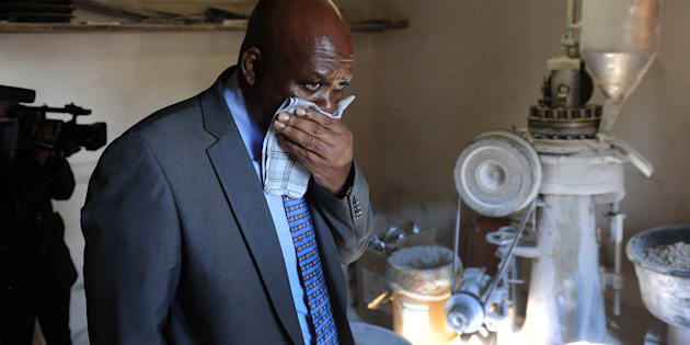 Hawks boss Mthandazo Berning Ntlemeza inspects a drug manufacturing factory during a drug bust in De Deur on June 08, 2016 in Vereeniging, South Africa.