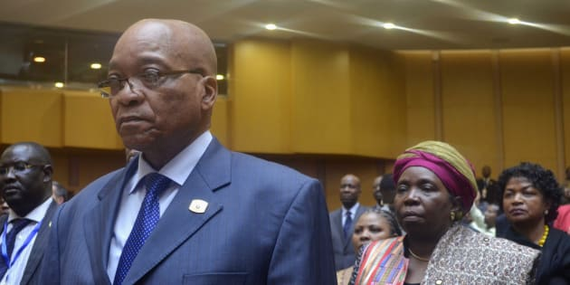 President Jacob Zuma and Nkosazana Dlamini-Zuma at the AU earlier.