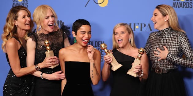 Vitórias de 'Big Little Lies' no Globo de Ouro empolgam Laura Dern, Nicole Kidman, Zoe Kravitz, Reese Witherspoon e Shailene Woodley.