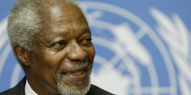 Kofi Annan smiles during a news conference at the United Nations in Geneva on Aug. 2, 2012.