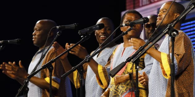 Ladysmith Black Mambazo performs during the annual Wal-Mart shareholders' meeting in Fayetteville, Arkansas, June 1, 2012.