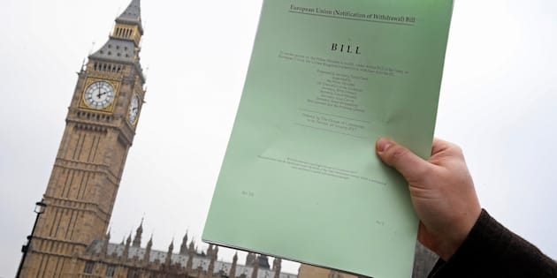 The Brexit Article 50  bill, introduced by the government to seek parliamentary approval to start the process of leaving the European Union, in front of the Houses of Parliament in London, Britain.