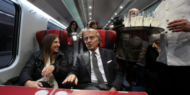 """Luca Cordero di Montezemolo, chairman for the NTV (Nuovo Trasporto Viaggiatori), talks with reporters inside the new high-speed train """"Italo Evo"""" at the Rome Termini station, Italy November 29, 2017. REUTERS/Tony Gentile"""