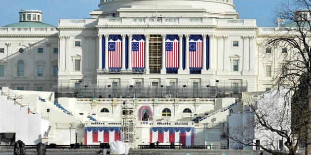 Le Capitole à Washington le 15 janvier 2017, en préparation pour l'investiture de Donald Trump.