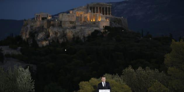 """""""Je n'ai pas choisi la Grèce par hasard"""", Macron lance son projet de refondation de l'Europe."""
