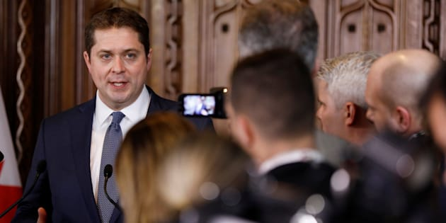 Conservative Leader Andrew Scheer speaks to the media in Ottawa on Feb. 27, 2018.