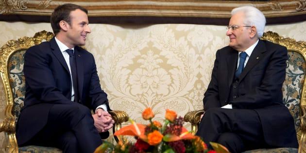 Sergio Mattarella et Emmanuel Macron à Rome le 11 janvier 2018.