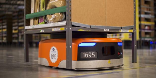 Les robots de la société Kiva qu'Amazon a acheté en 2012.