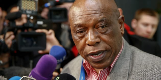 FIFA presidential candidate Tokyo Sexwale talks to journalists before his visit to the CONCACAF meeting in Zurich, Switzerland February 25, 2016. REUTERS/Arnd Wiegmann
