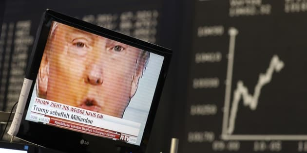 """A TV screen showing Donald Trump, then the president-elect, at the stock exchange in Frankfurt, Germany, Nov. 9, 2016. New """"deepfake"""" technology could make it practically impossible for viewers to know when they are watching a fake video."""