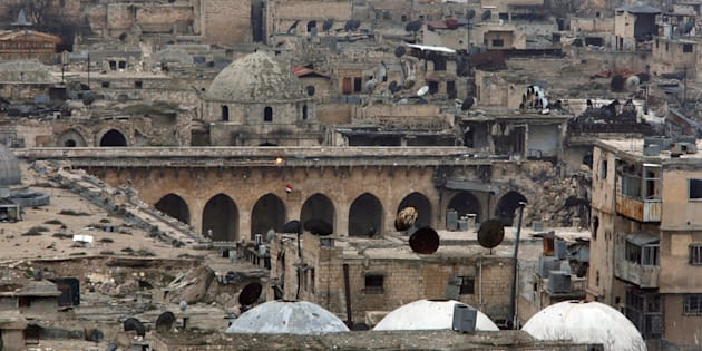 A view shows part of the Umayyad mosque as seen from the ancient citadel in Aleppo, Syria, on January 31, 2017.