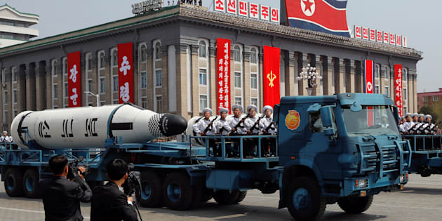 A North Korean navy truck carries a ballistic missile during a military parade in April.