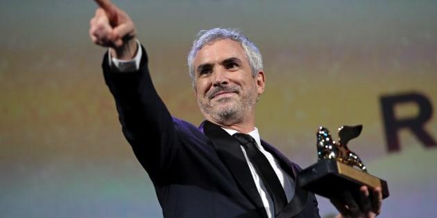 El 75. ° Festival Internacional de Cine de Venecia - Ceremonia de entrega de los premios - Venecia, Italia, 8 de septiembre de 2018 - El director Alfonso Cuarón gana el León de Oro a la mejor película.<br />
