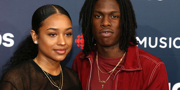 Daniel Caesar and guest arrive on the 2018 Junos red carpet in Vancouver on Sunday.