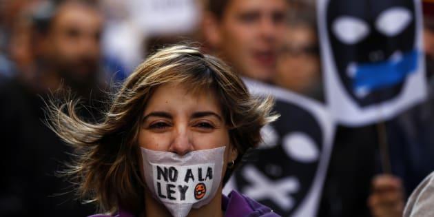 Protesta contra la Ley Mordaza celebrada en Madrid el 20 de diciembre de 2014.
