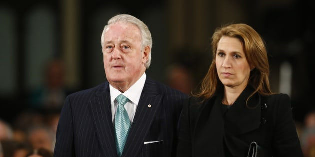 Former Canadian Prime Minister Brian Mulroney (L) and his daughter Caroline Mulroney Lapham arrive for the state funeral of Canada's former finance minister Jim Flaherty in Toronto,  April 16, 2014.