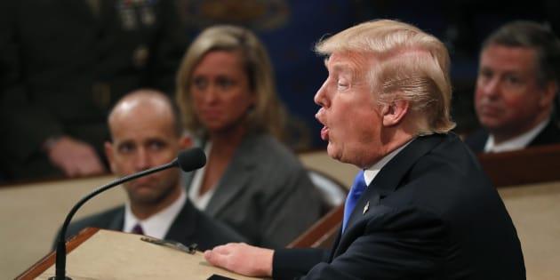 Donald Trump devant le Congrès à Washington le 30 janvier 2018.