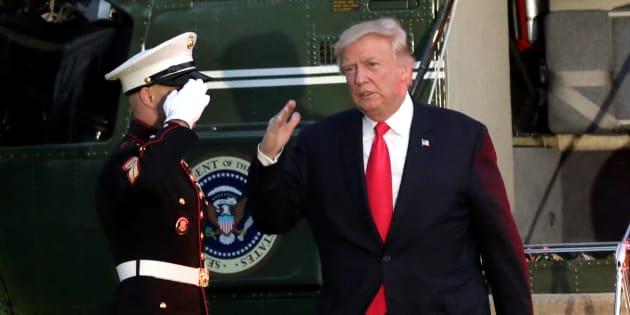 Donald Trump, à son retour de Hambourg le 8 juillet.
