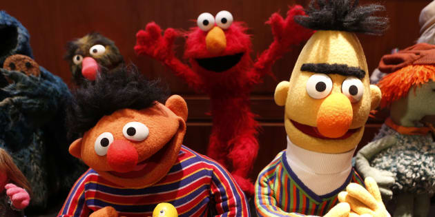 Ernie, left, and Bert from 'Sesame Street' are seen after they were donated to the National Museum of American History on Sept. 24, 2013.