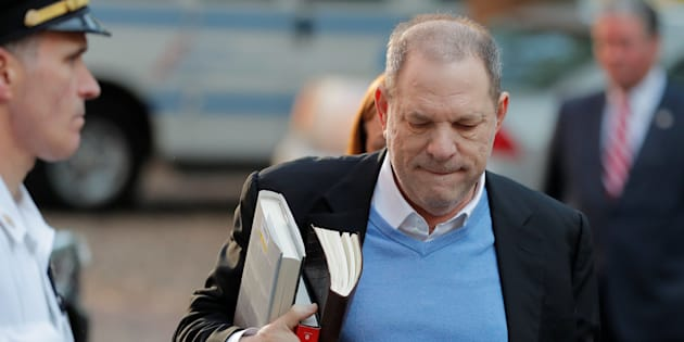 Film producer Harvey Weinstein arrives at the 1st Precinct in Manhattan in New York May, 25 2018
