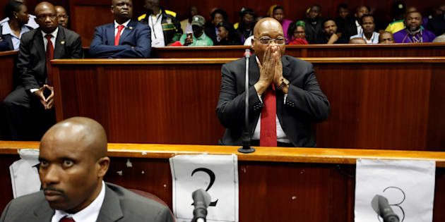 Former South African president Jacob Zuma is seen at the KwaZulu-Natal High Court in Durban, South Africa April 6, 2018.