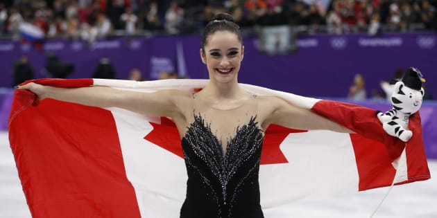 Kaetlyn Osmond celebrates after the women's free skating competition final at the 2018 Olympics.