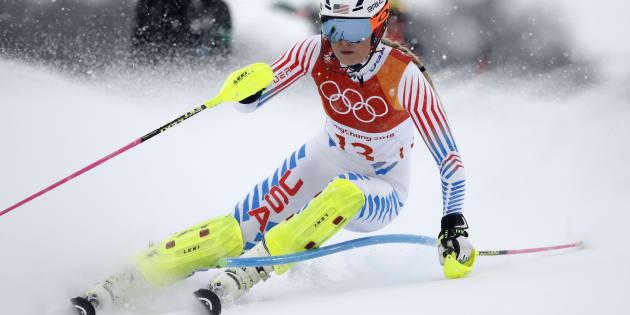 Lindsey Vonn esquiando en Pyeongchang 2018.