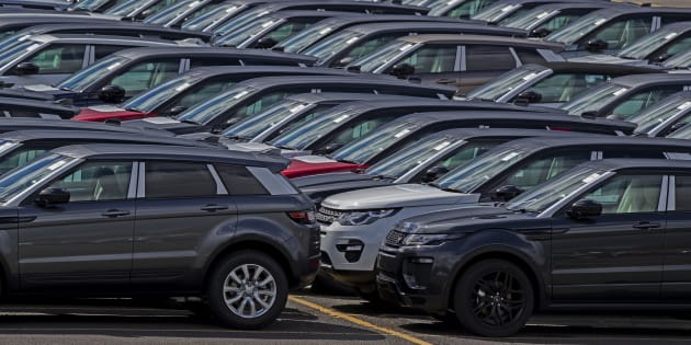 New Range Rovers and Land Rovers on the Jaguar Land Rover site in Halewood, Knowsley, Merseyside, as the new car market has declined for a fourth consecutive month, industry figures show.