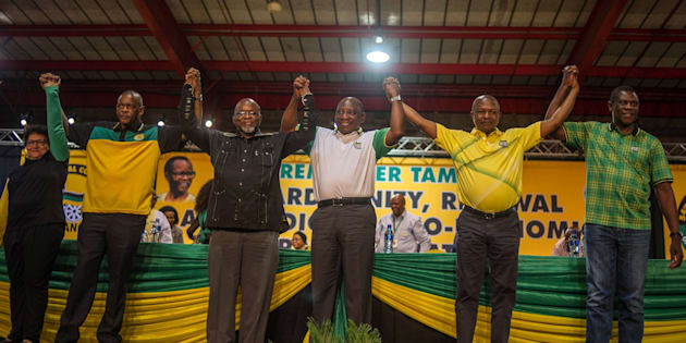 The ANC's top six leaders after they were elected at the party's national conference last year.
