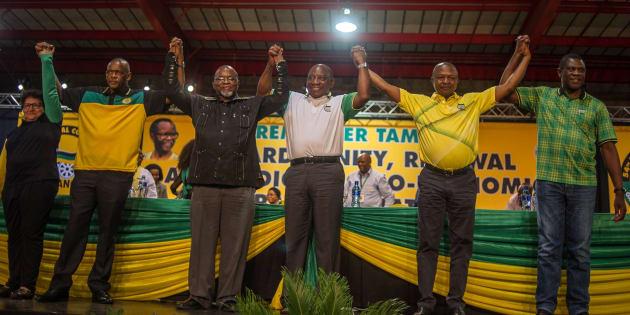 ANC top six: Deputy secretary-general Jessie Duarte, secretary-general Ace Magashule, national chair Gwede Mantashe, president Cyril Ramaphosa, deputy president David Mabuza and treasurer-general Paul Mashatile.